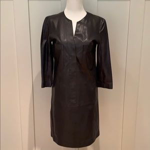 NWT VINCE LEATHER SHIRT DRESS IN COASTAL SIZE 4